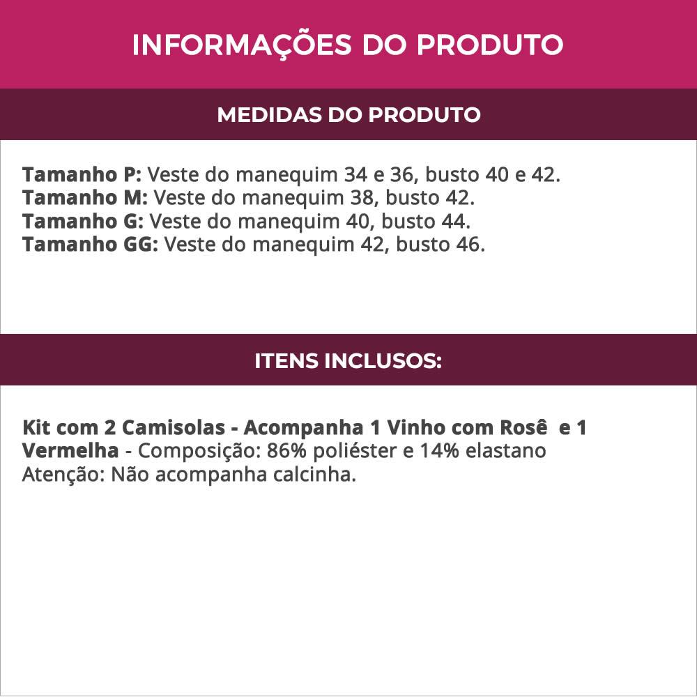 (Kit-V113) - 2 Camisolas em Microfibra e Renda Sem Bojo 1 Vermelha / 1 Vinho com Rosê - DR167