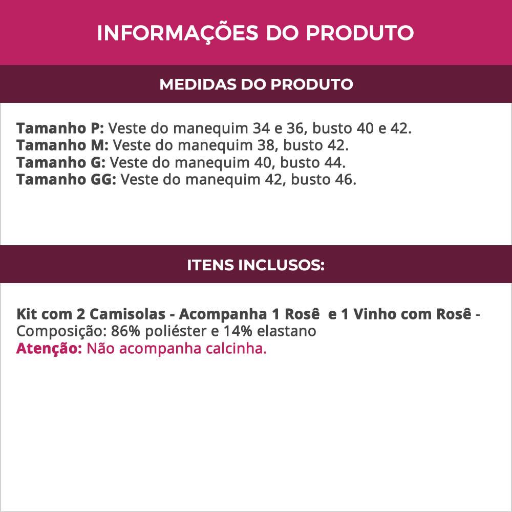 (Kit-V114) - 2 Camisolas em Microfibra e Renda Sem Bojo 1 Rosê / 1 Vinho com Rosê - DR167