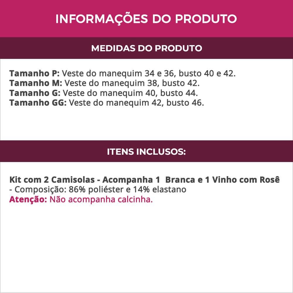 (Kit-V116) - 2 Camisolas em Microfibra e Renda Sem Bojo 1 Branca / 1 Vinho com Rosê - DR167