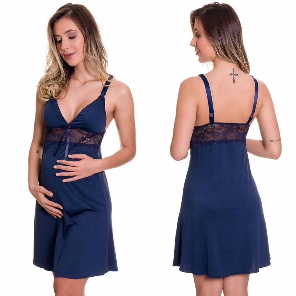 (KIT-V119) - Camisola Amamentação Com Robe em Viscolycra Cinza com Azul Marinho + Camisola Amamentação em Microfibra Azul Marinho - ES220-221-ES206