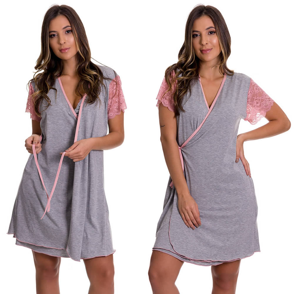 (KIT-V120) - Camisola Amamentação Com Robe em Viscolycra Cinza com Rose + Camisola Amamentação em Microfibra Lilás - ES220-221-ES206