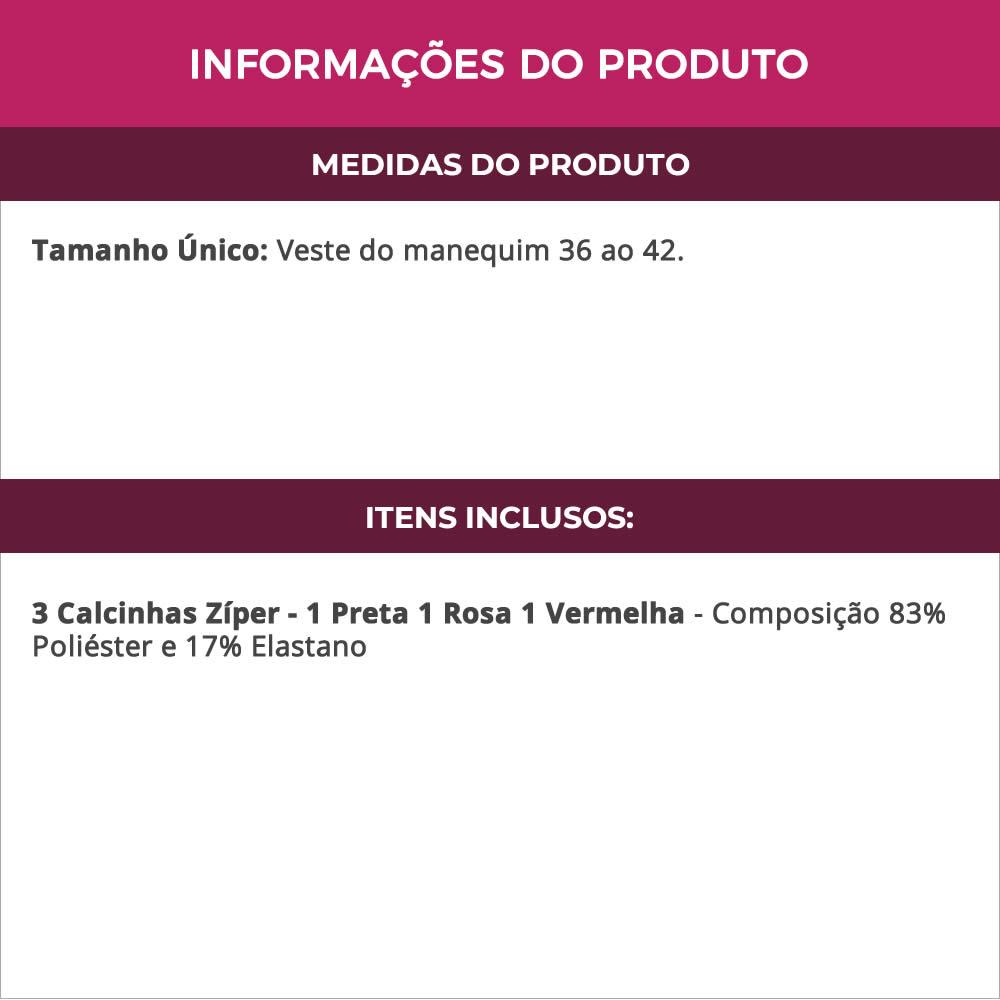 (KIT-V122) - 3 Calcinhas Zíper Fio Dental em Renda 1 Preta 1 Rosa 1 Vermelha - DY200039