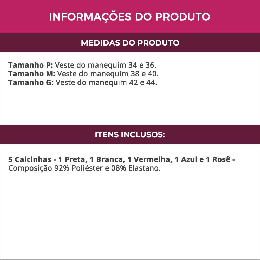 (KIT-V126) - 5 Calcinhas de Renda Preta, Branca, Vermelha, Azul e Rosê - MM029