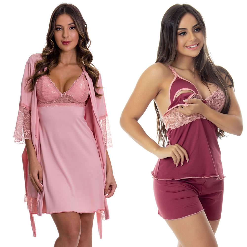 (KIT-V137) - Camisola Amamentação com Robe Rosê + Baby Doll Amamentação Vinho/Rosê - DR202-301-DR203