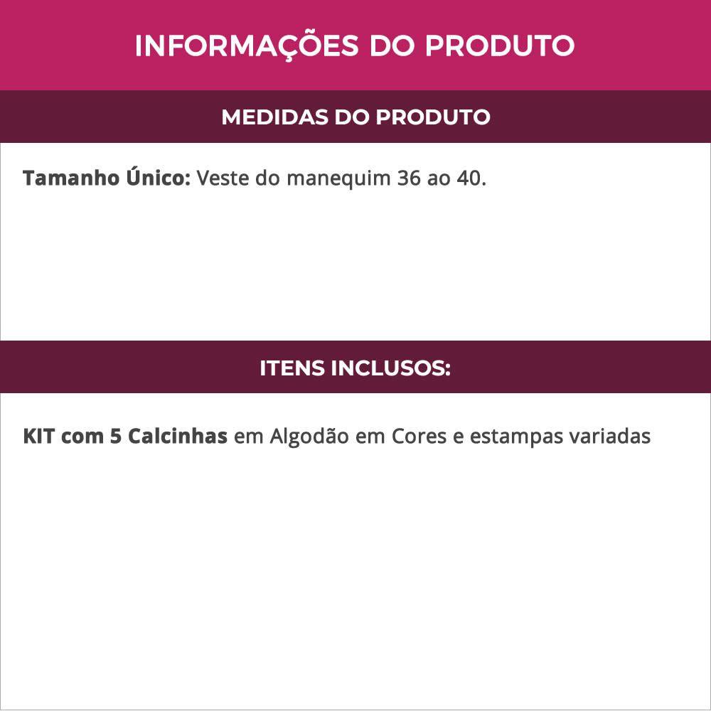 (Kit-V19) - 5 Calcinhas em Algodão Cor e Estampa Variada Aline - MC3059
