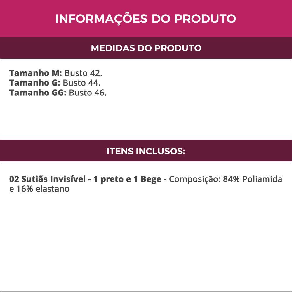 (Kit-V25) - 2 Sutiãs Invisível Costa Nua em Tule e renda com Bojo 1 preto e 1 Bege - TV4263