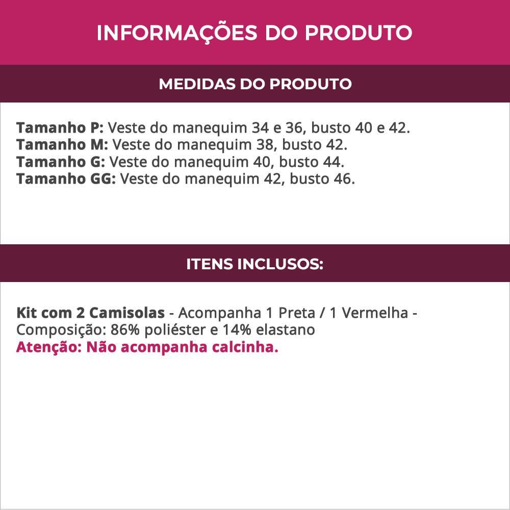 (Kit-V30) - 2 Camisolas em Microfibra e Renda Sem Bojo 1 Preta / 1 Vermelha - DR167