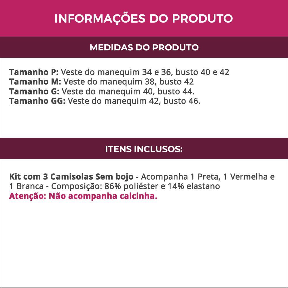 (Kit-V32) - 3 Camisolas em Microfibra e Renda Sem Bojo Preta Vermelha e Branca - DR167