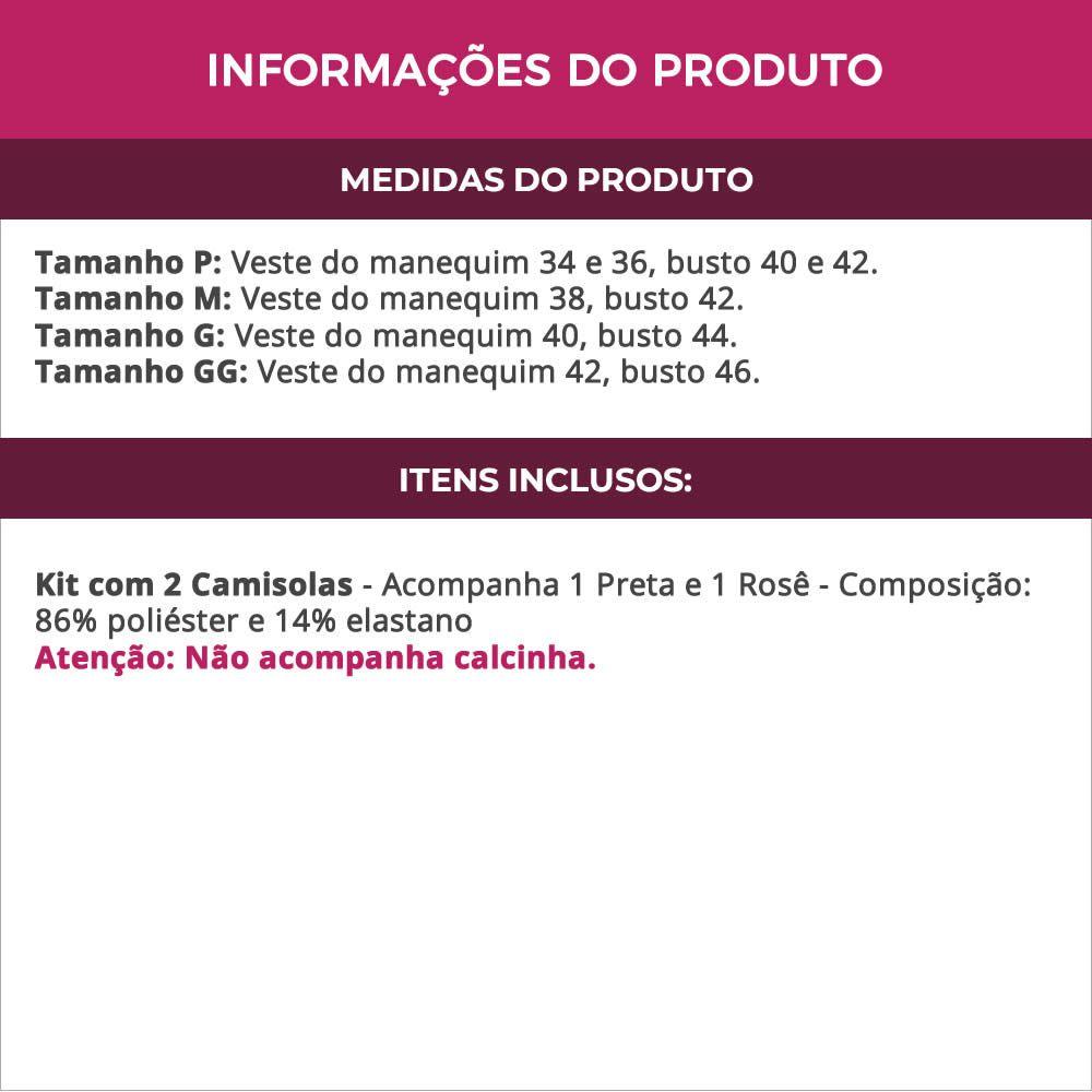 (Kit-V40) - 2 Camisolas em Microfibra e Renda Sem Bojo 1 Preta / 1 Rosê - DR167