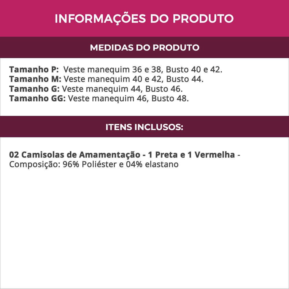 (KIT-V44) - 2 Camisolas Amamentação em Microfibra 1 Preta e 1 Vermelha - ES206