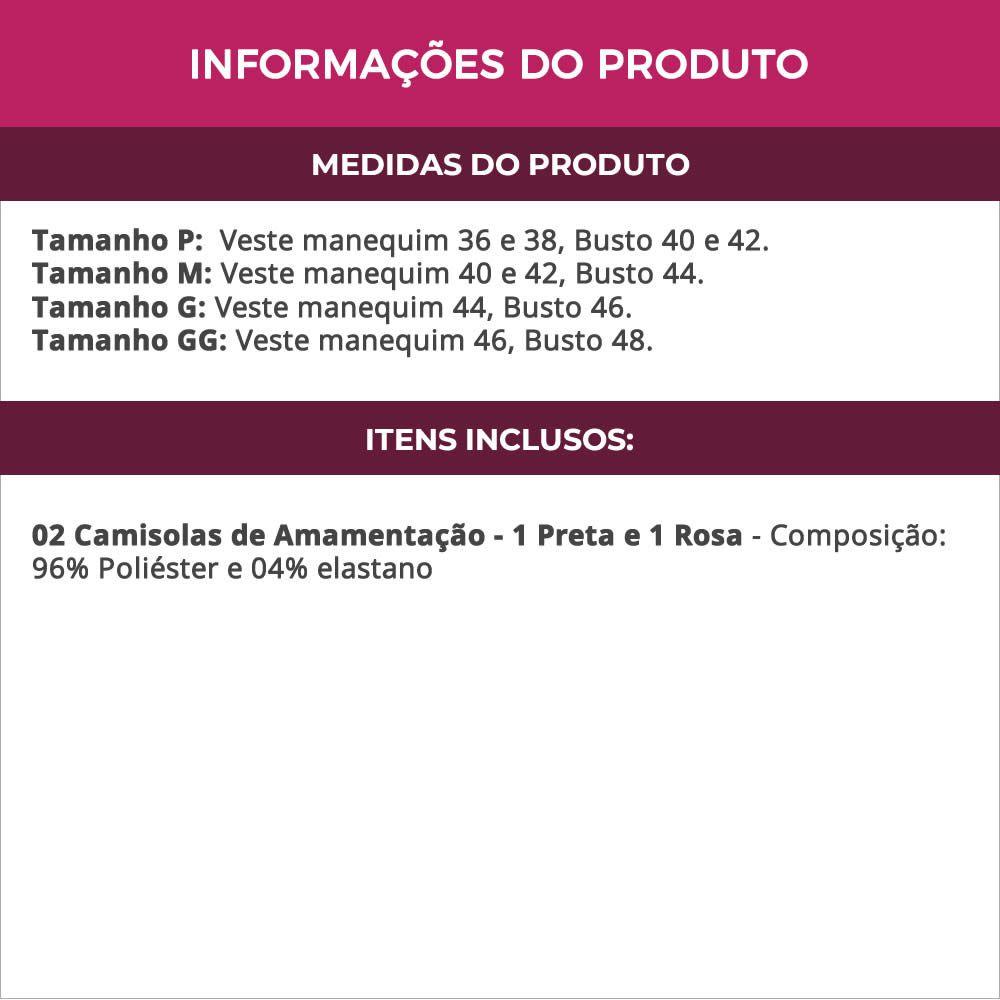 (KIT-V46) - 2 Camisolas Amamentação em Microfibra 1 Preta e 1 Rosa - ES206