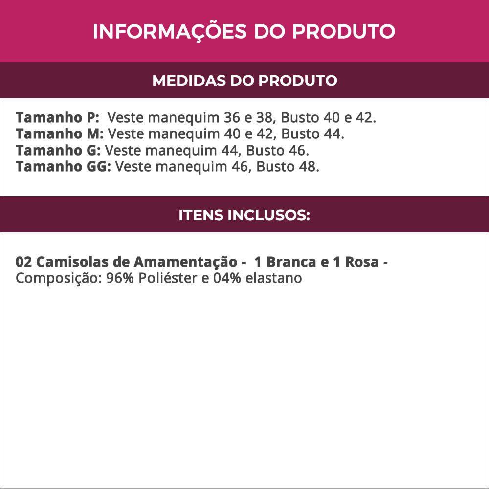 (KIT-V50) - 2 Camisolas Amamentação em Microfibra 1 Branca e 1 Rosa - ES206