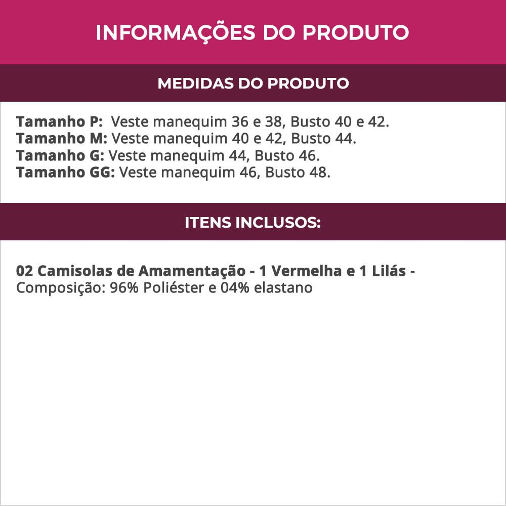 (KIT-V54) - 2 Camisolas Amamentação em Microfibra 1 Vermelha e 1 Lilás - ES206