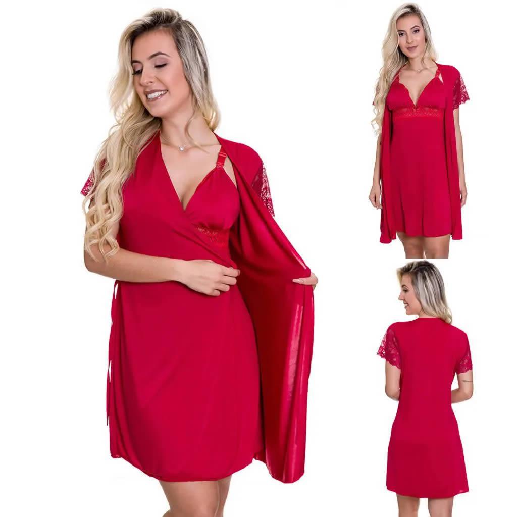 (Kit-V58) - 3 Camisolas Amamentação Com Robe em Microfibra 1 Rosa 1 Vermelha 1 Preta - ES206-207