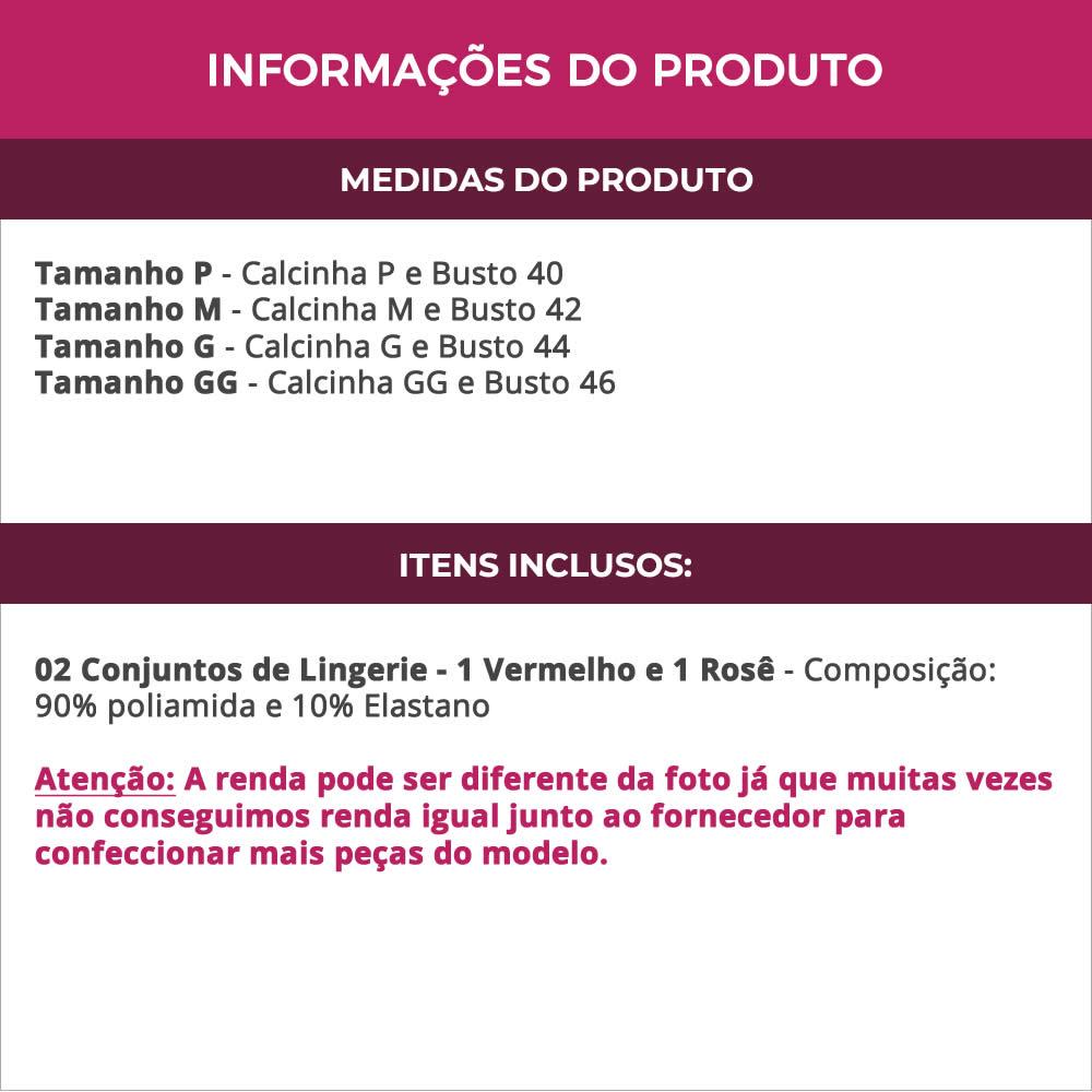 (KIT-V62) - 2 Conjuntos de Lingerie em Renda 1 Vermelho e 1 Rosê - VF13