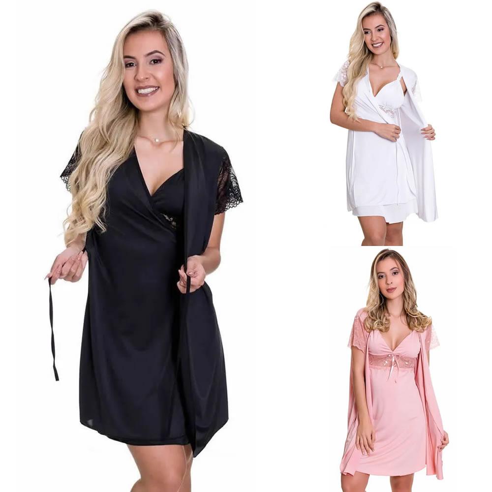 (Kit-V70) - 3 Camisolas Amamentação Com Robe em Microfibra 1 Preta 1 Branca 1 Rosa - ES206-207