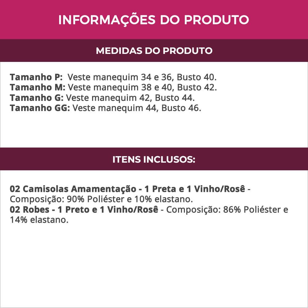 (KIT-V79) - 2 Camisolas Amamentação com Robe de Manga 7/8 1 Preta e 1 Vinho/Rosê - DR202-301
