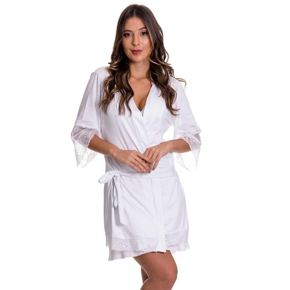 (KIT-V80) - 2 Camisolas Amamentação com Robe de Manga 7/8 1 Preta e 1 Branca - DR202-301