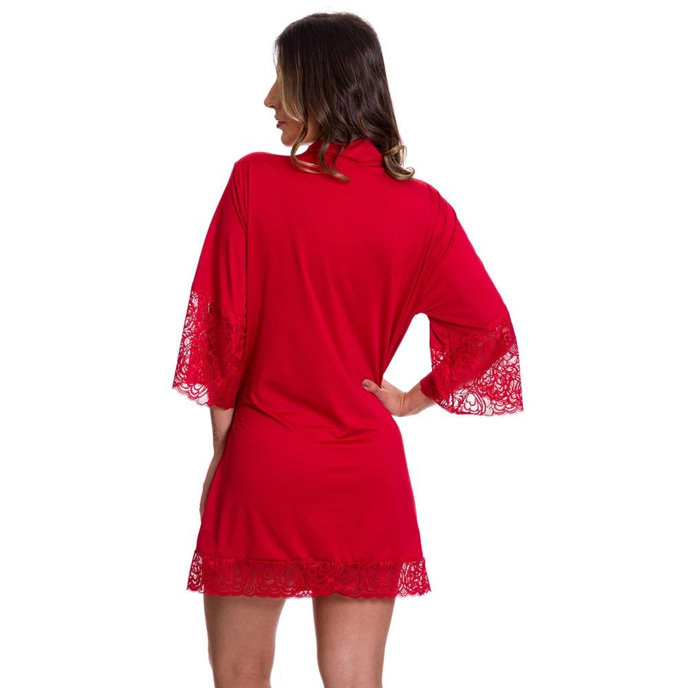 (KIT-V82) - 2 Camisolas Amamentação com Robe de Manga 7/8 1 Preta e 1 Vermelha - DR202-301