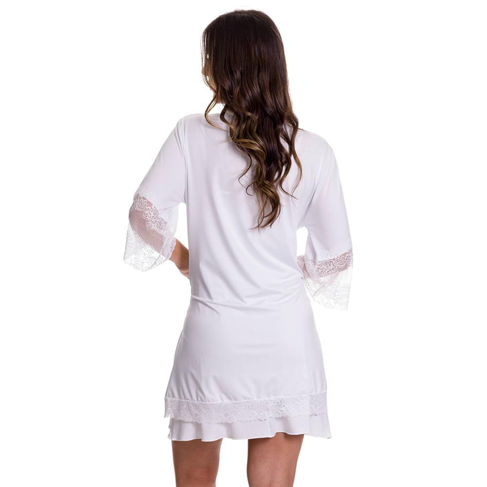 (KIT-V84) - 2 Camisolas Amamentação com Robe de Manga 7/8 1 Branca e 1 Rosê - DR202-301