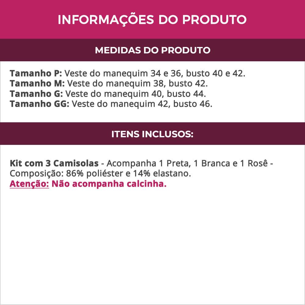 (Kit-V86) - 3 Camisolas em Microfibra e Renda Preta Branca e Rosê - DR167