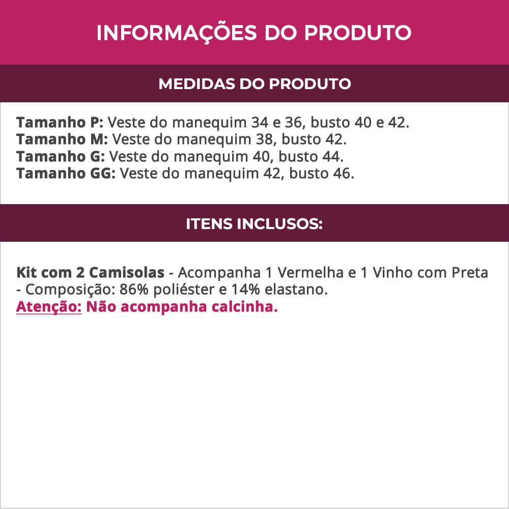 (Kit-V88) - 2 Camisolas em Microfibra e Renda 1 Vermelha e 1 Vinho com Preta - DR167