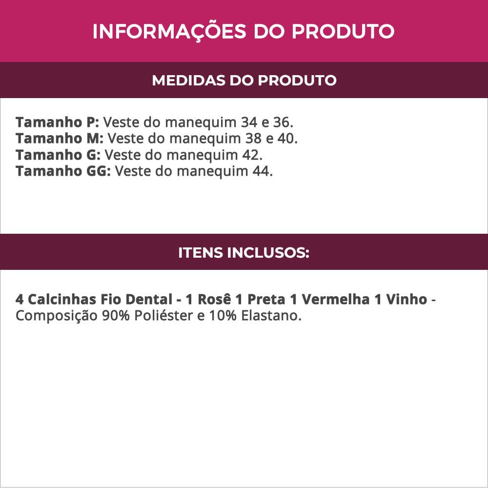 (KIT-V93) - 4 Calcinhas Fio Dental em Microfibra Rosê Preta Vermelha e Vinho - MF1348