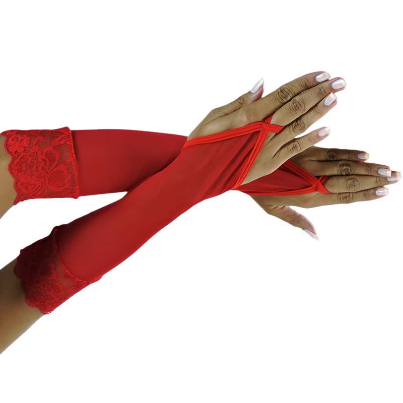 Luva Feminina em tule e renda Preta, Branca ou Vermelha - EK434