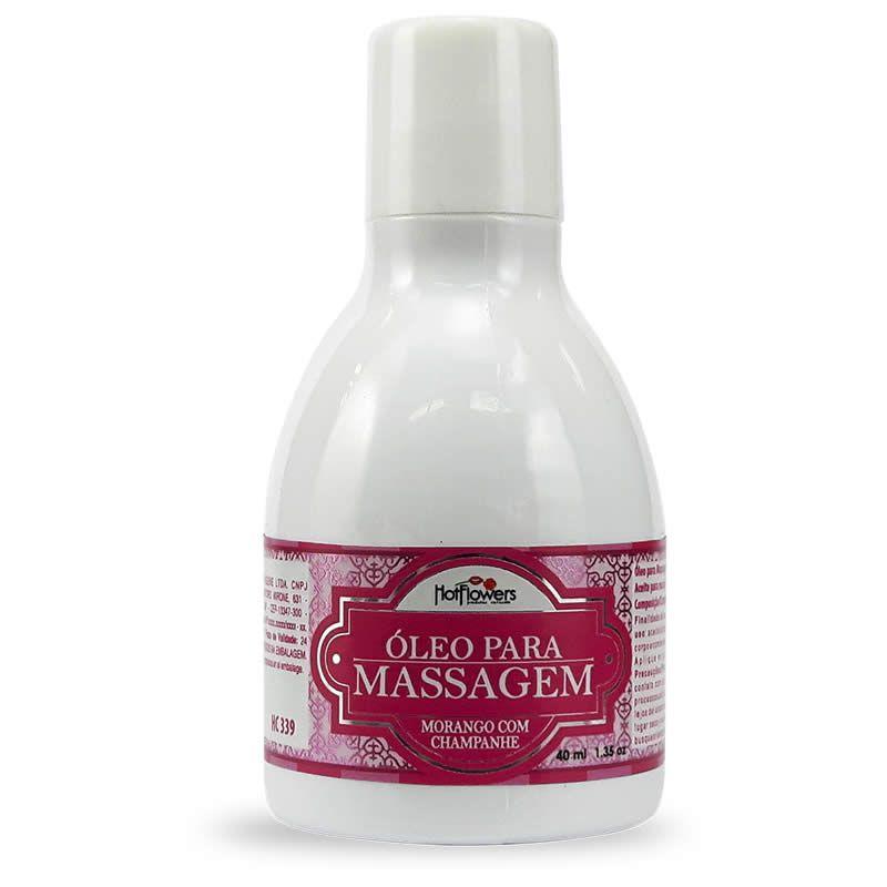 Óleo Para Massagem Beijável Morango Com Champanhe - HFHC339