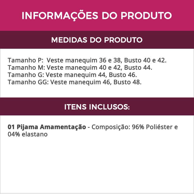 Pijama Para Gestante Amamentação Preto em Liganete - ME40020