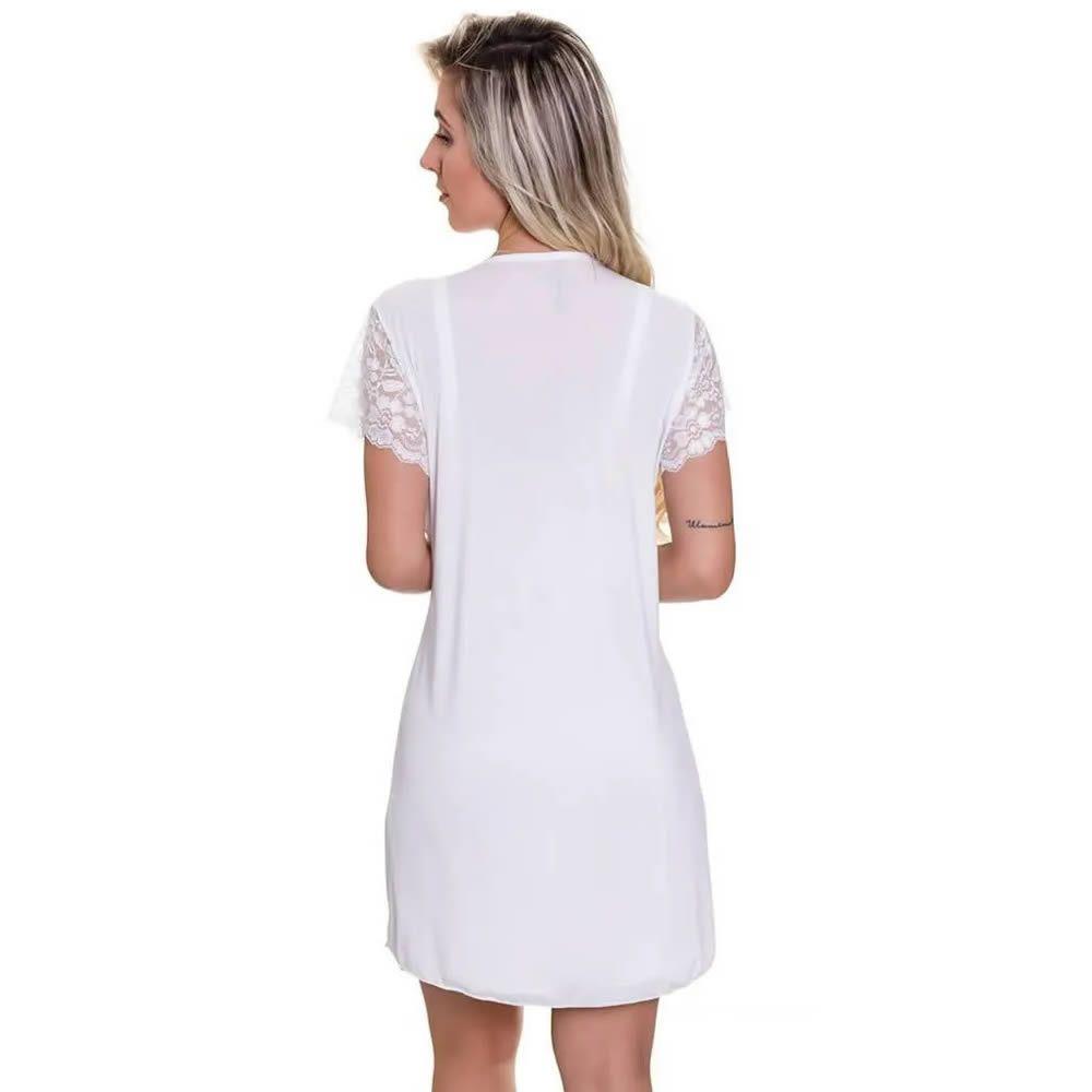 Robe Branco em Microfibra e Renda - ES207
