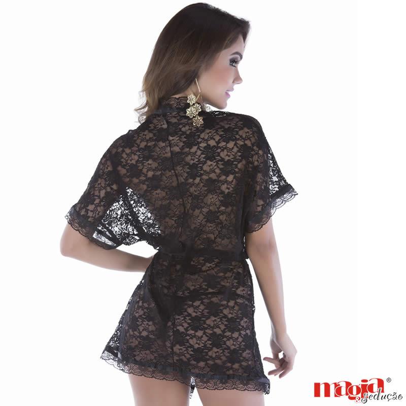 Robe Curto Preto em Renda com Calcinha - MS090