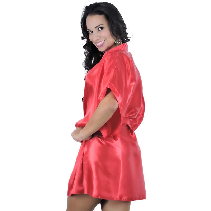 Robe em Cetim Vermelho ou Preto com Fita para Amarrar - EK5013