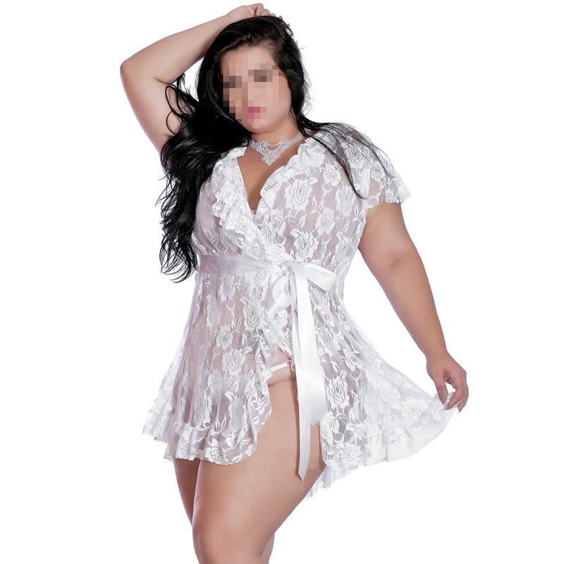 ead2b4178 Robe Plus Size em Renda Transparente com Fita de Cetim - EK5018