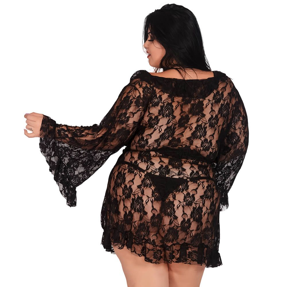 Robe Preto Plus Size Transparente em Renda - EK5042