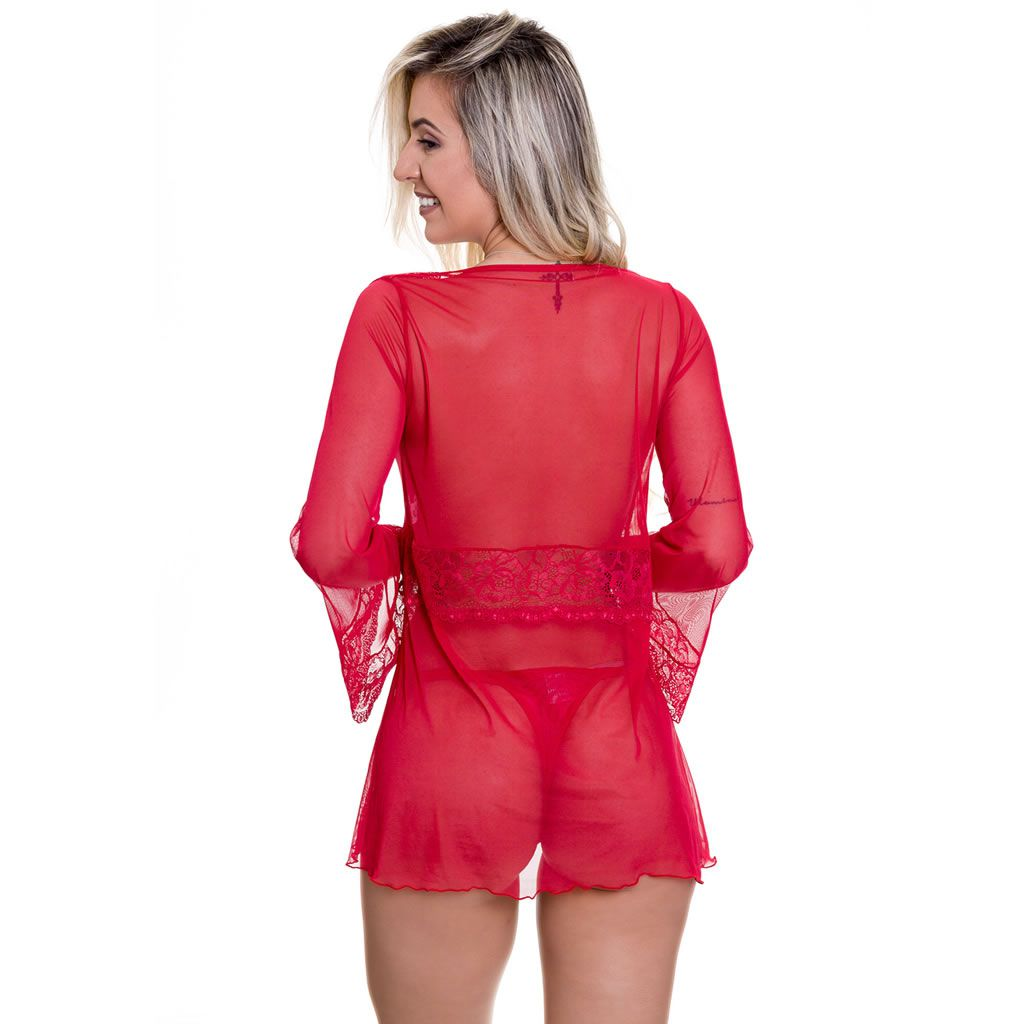 Robe Vermelho Transparente em Tule e Renda - VC3329
