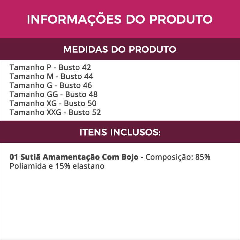 Sutiã Amamentação com Bojo Cortinão Preto - ME10040