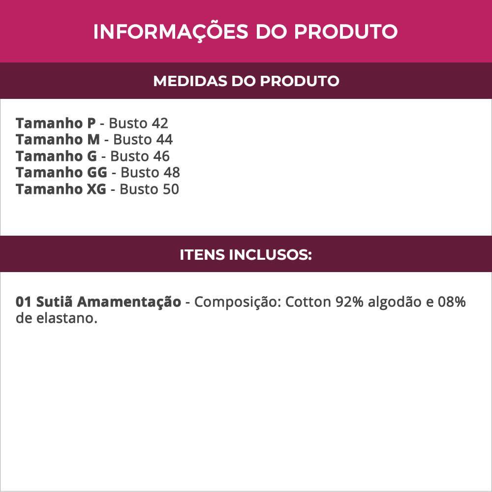 Sutiã Amamentação Sem Bojo em Cotton Preto ou Bege - LP10035