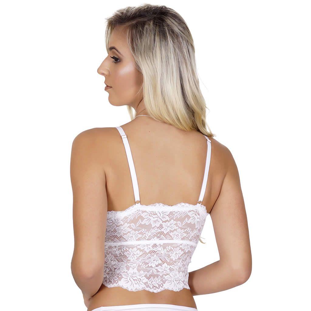 Sutiã Cropped Branco em Renda Transparente - VF14