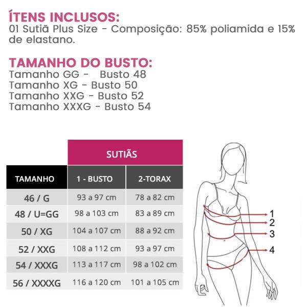Sutiã Cropped Plus Size Strappy Preto de Renda com Bojo Preto - PL275-PL274