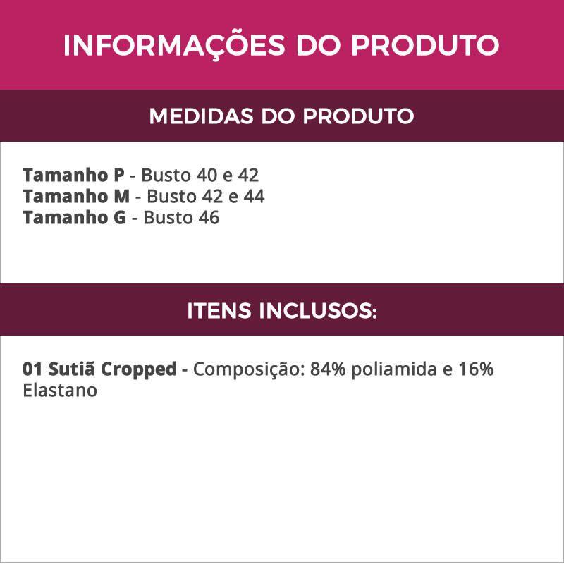 Sutiã Cropped Strappy em microfibra com Tiras e Bojo Angel Preto ou Branco - TV3654