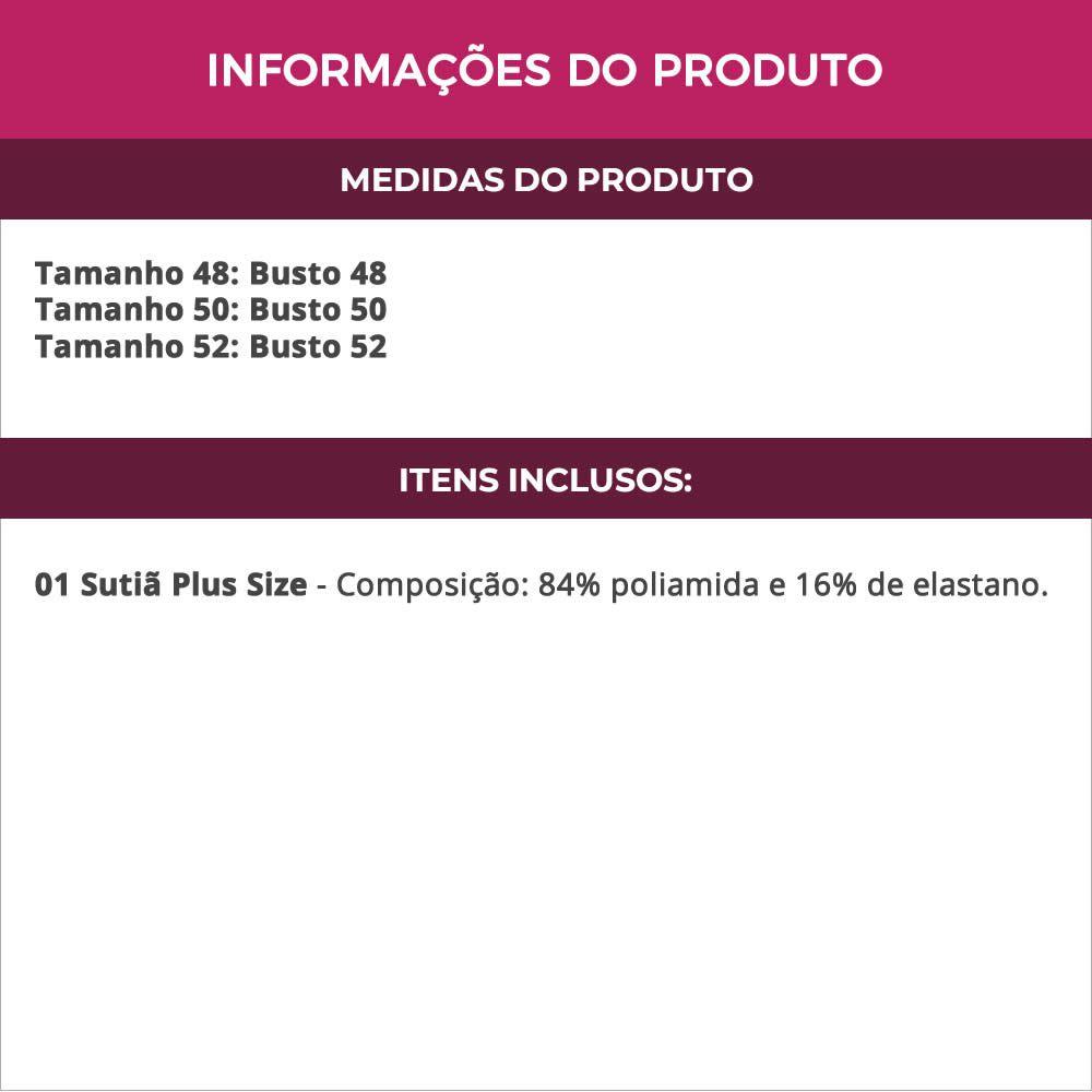Sutiã Plus Size Básico Com Bojo Bege ou Preto em Microfibra Odete - TV4060
