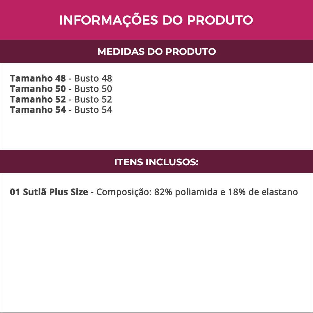 Sutiã Plus Size com Bojo em Microfibra e Renda - DM428