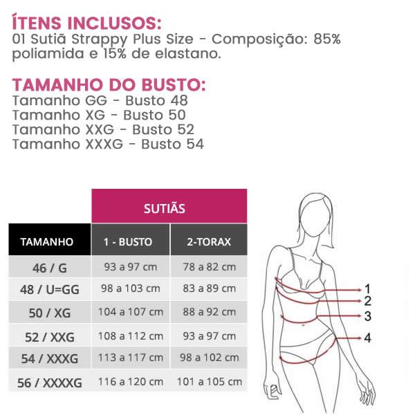 Sutiã Plus Size Strappy em Renda com Bojo Branco ou Preto - PL244-PL243