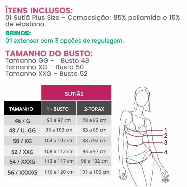 Sutiã Plus Size Tomara que Caia com Bojo e Extensor para 3 regulagens Preto ou Vermelho - PL226