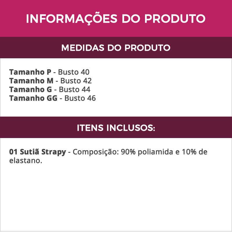 Sutiã Strappy Bra com Tiras e Bojo em Renda Preto Branco Vermelho ou Vinho - IN036