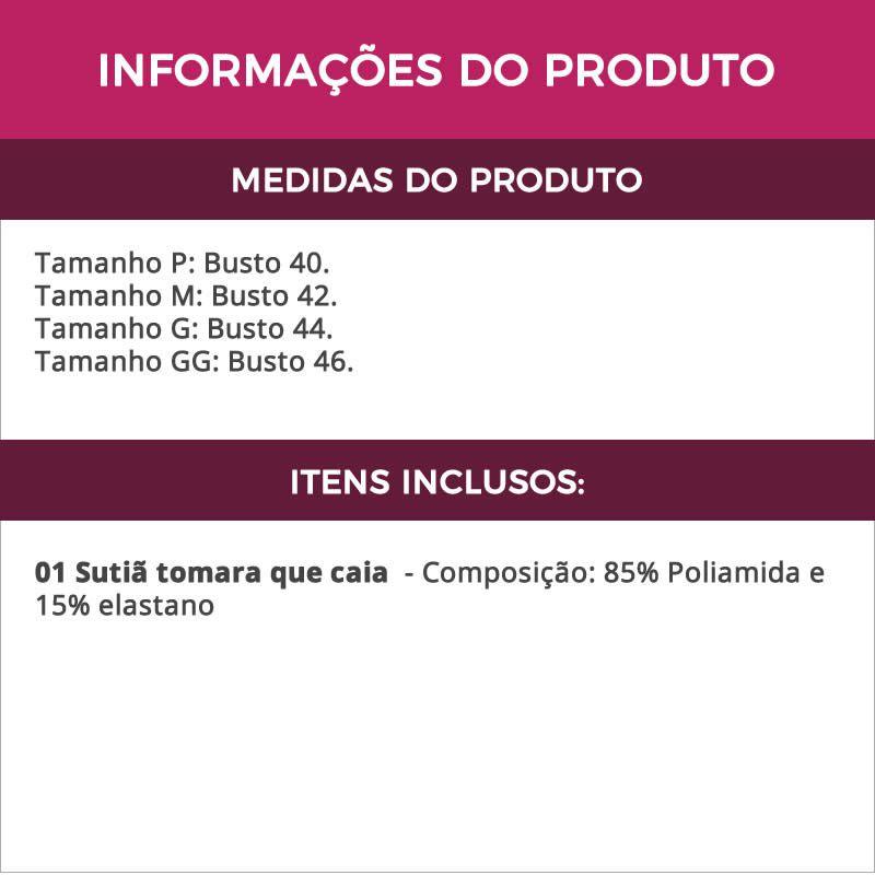 Sutiã Tomara Que Caia Preto com Bojo Removível - ME10018