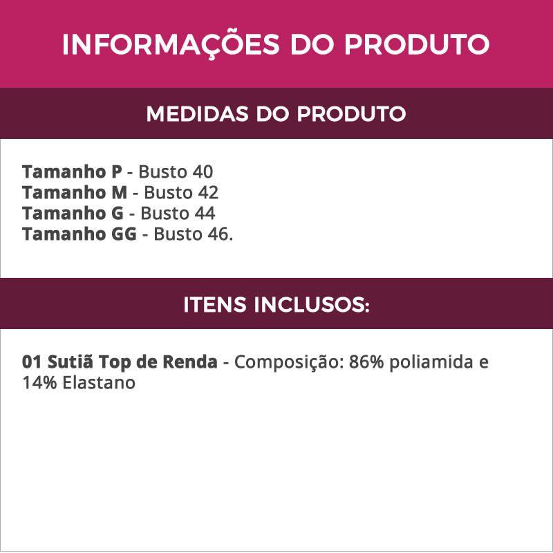 Sutiã Top em Renda com Costas Aberta Vermelha - DR187