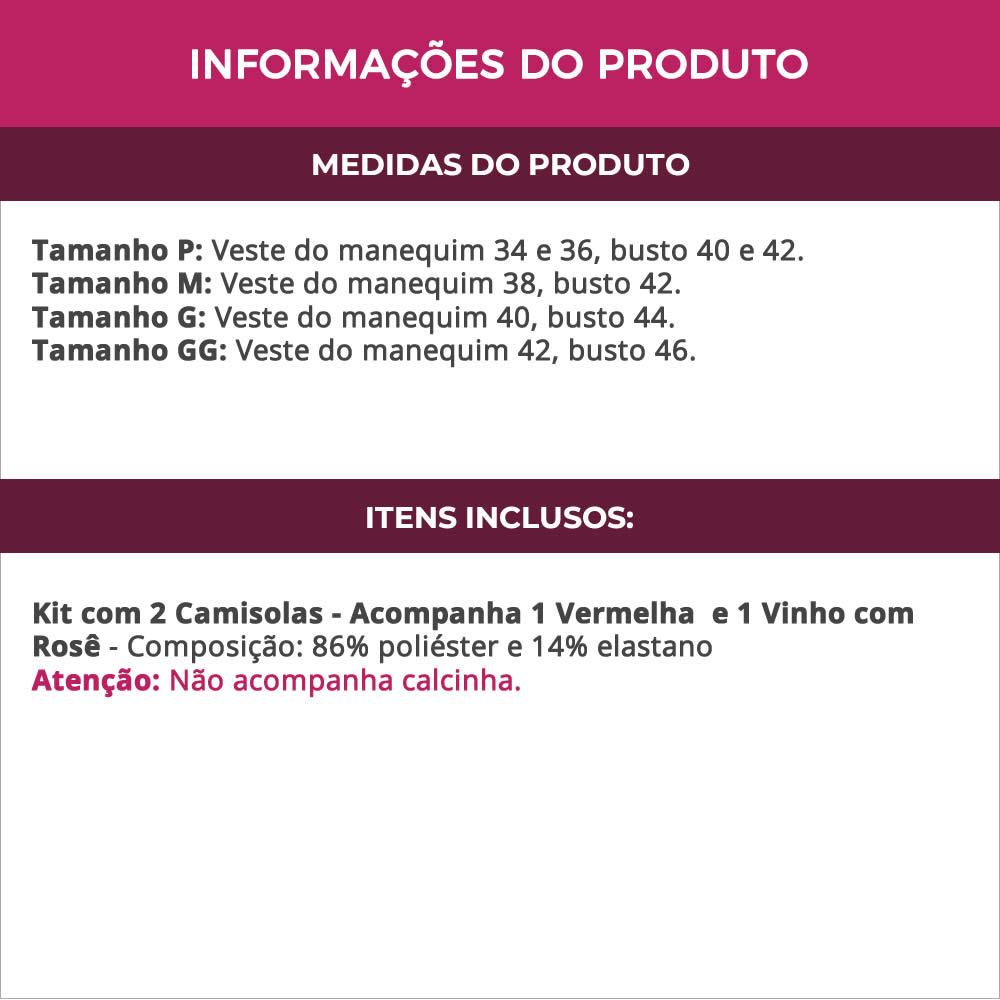 (Kit-V115) - 2 Camisolas em Microfibra e Renda Sem Bojo 1 Vermelho / 1 Vinho com Rosê - DR167