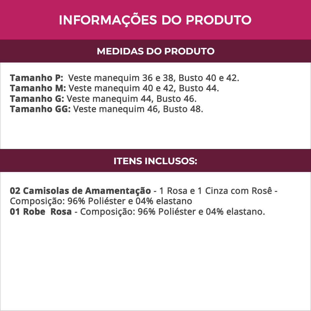 (KIT-V115) - 1 Camisola Amamentação com Robe Rosa + 1 Camisola Amamentação Cinza com Rosê - ES206-207-ES220